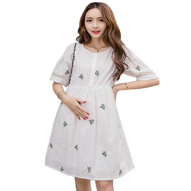 42fb55e152 White Embroidery Nursing Dress Summer Pregnancy Clothes for Pregnant Women Breastfeeding  Dress Short Sleeve Maternity Dresses