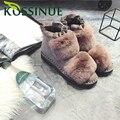Mujeres botas de Invierno de hoja de Loto lado de piel de Conejo plana de tacón Bajo botas Gruesas botas de nieve Botas de Felpa de algodón de Las Señoras Planos de la Marca zapatos