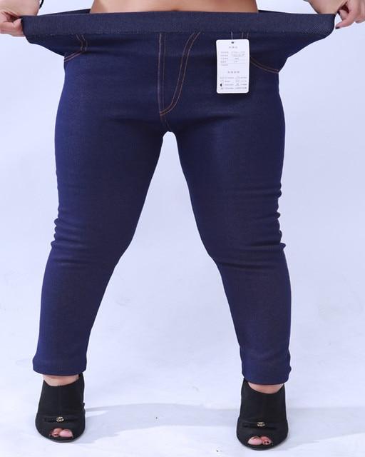 New 2016 Plus Size High Elastic Winter Pants Soft Cotton Thicken Fur Women Warm Leggings Fashion Faux Jeans Legging Trousers