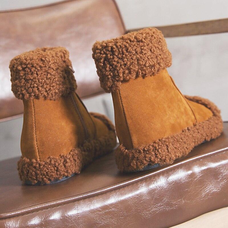 Nuevo Nieve Felpa Mujer Negro Mullida brown Tobillo 2018 Botas Zapatos Llegada Caliente Marrón Casuales De Black Mujeres Para khaki Invierno La Piel Las qxEppwUgC