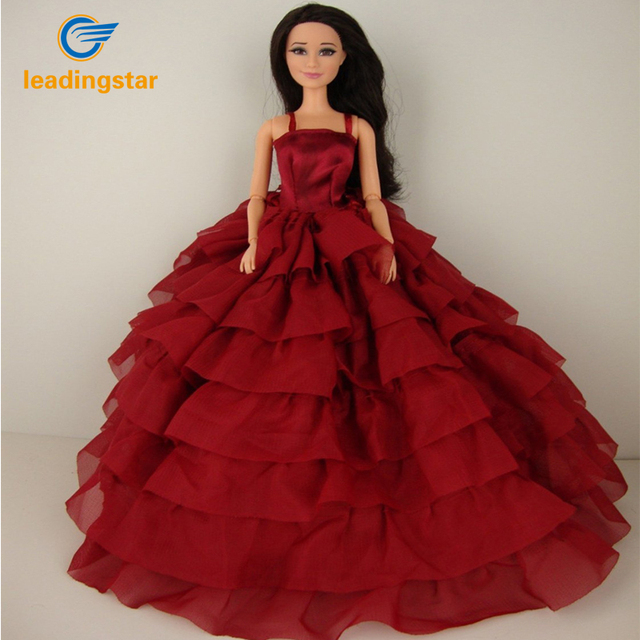 LeadingStar Deep Red Gown with Layers of Ruffle Details Made to Fit ...