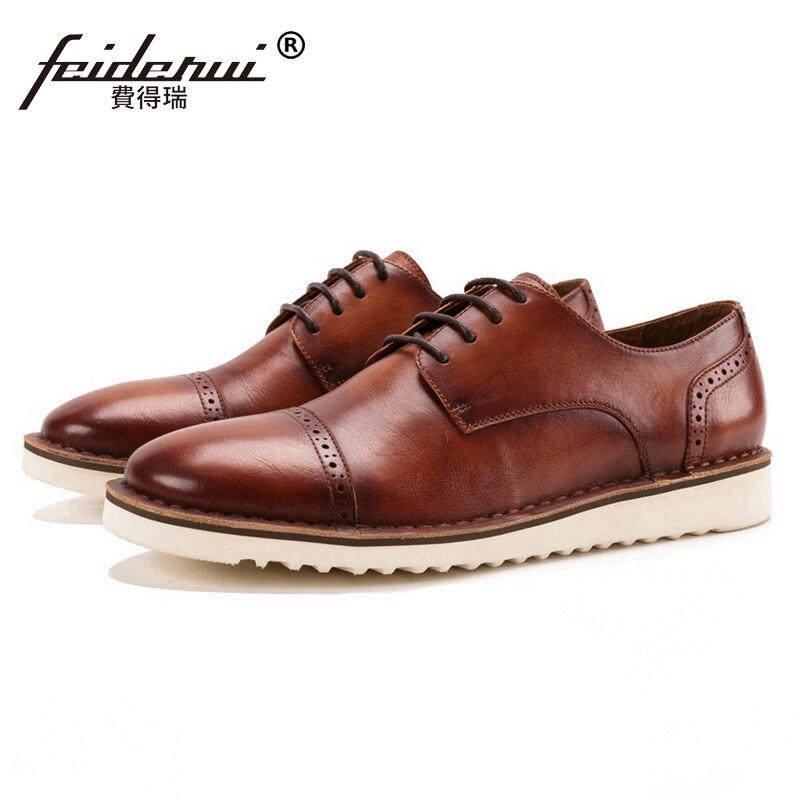 New Vintage Round Toe Derby Man Semi Brogue Footwear Formal Designer Genuine Leather Men's Handmade Flat Platform Shoes SS258