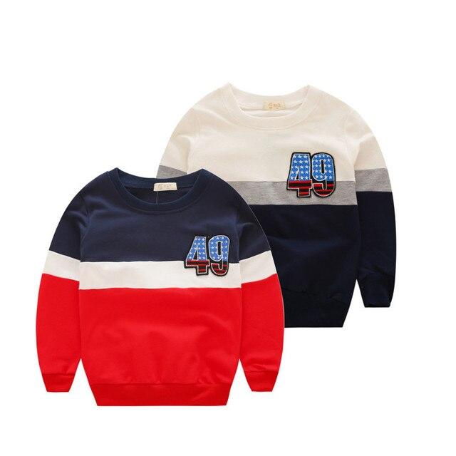 2016 осень новой детской одежды детская футболка хлопок свитер мальчик цифровой мозаика для 3-10 Т