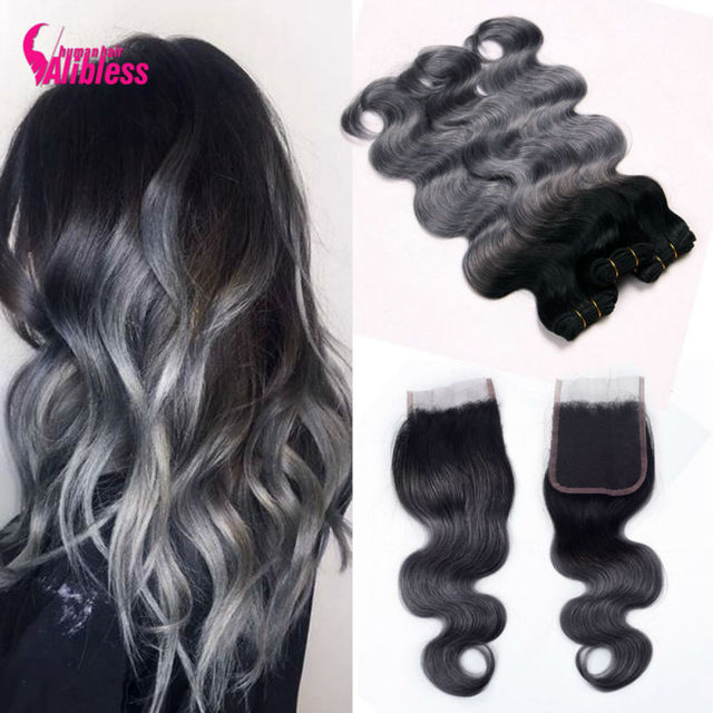 8A Ombre Brazilian body wave grey hair weave 3pcs with closure grey ombre hair extensions with closure 1b/grey human hair