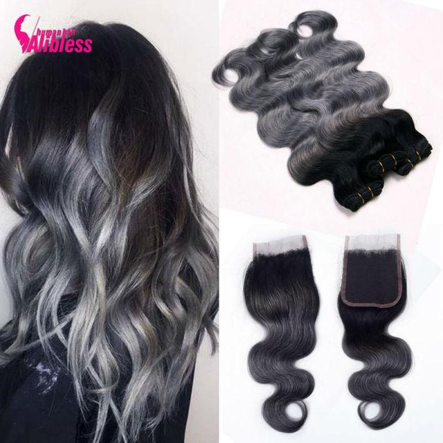 8A cinza tecer cabelo 3 pcs Ombre onda do corpo Brasileiro com fechamento cinza extensões de cabelo ombre com fechamento 1b/cabelo humano cinza