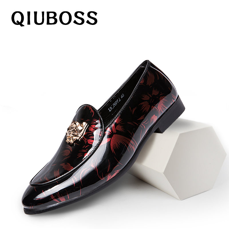 Leather Men Shoes Luxury Brand Mens Wedding Dress Shoes Gold Top Men Loafers Fashion Metal Decoration Flats Male Shoes