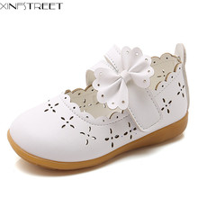 Xinfstreet Baby Girls Shoes Cute Bow Children Princess Toddler Kids Pu Leather Dress Dance Size 21-30