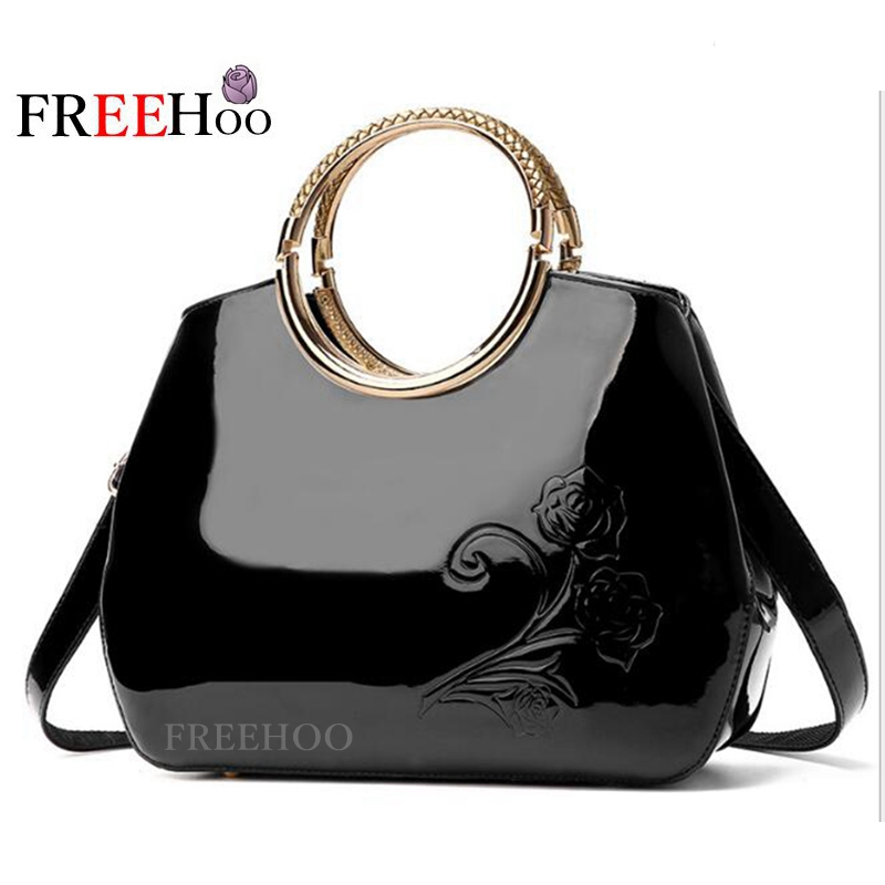 2017 new European and American fashion famous brand patent leather handbag women bags european and american 2017 new lychee grain 100