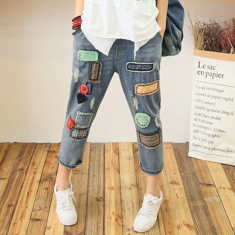 Casual Vintage Ethnic Retro Embroidered Patchwork Jeans Blue Denim Loose Summer Calf Length Panelled Pants Pantolon Trousers