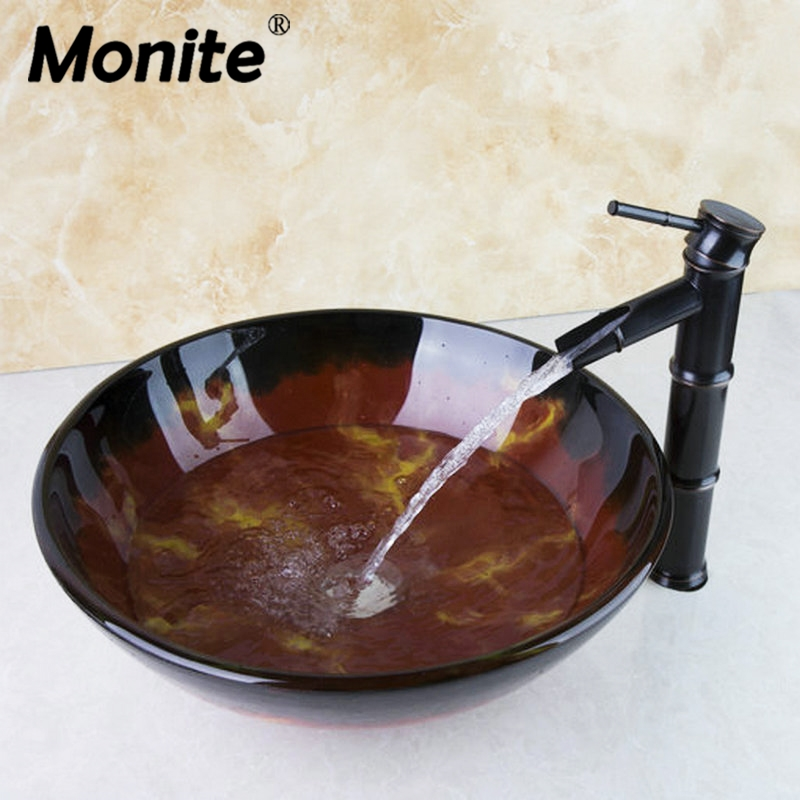 Painting Round Bathroom Art Washbasin Tempered Glass Vessel Sink