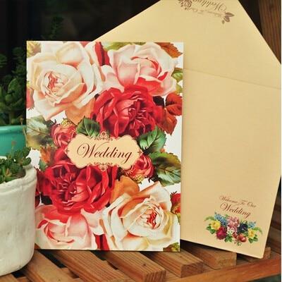 pasayione unids de lujo colorida floral tarjeta de las de boda con sobre de