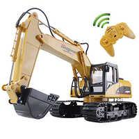 Excavadora Huina RC 15CH 2,4G, excavadora de oruga de camión con Control remoto, modelo de camiones de juguete de ingeniería electrónica para niños