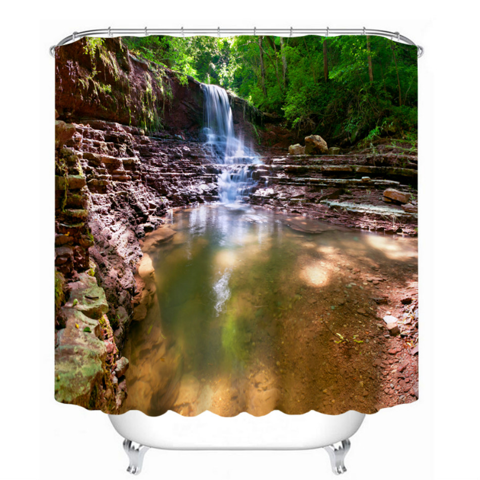 bathroom products printed polyester bath curtain shower curtain mountain streamchina mainland