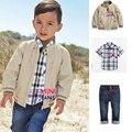 brand-clothing australia denim pant set kids jeans jacket pants boys wear set full zipper coats+jeans +shirts express clothing