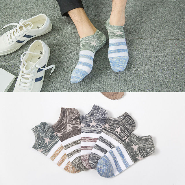 HSS New Brand Spring Summer Retro Stripes Men Socks Jacquard Fight Color Shallow Mouth Wpmen socks High Quality Drop shipping Socks