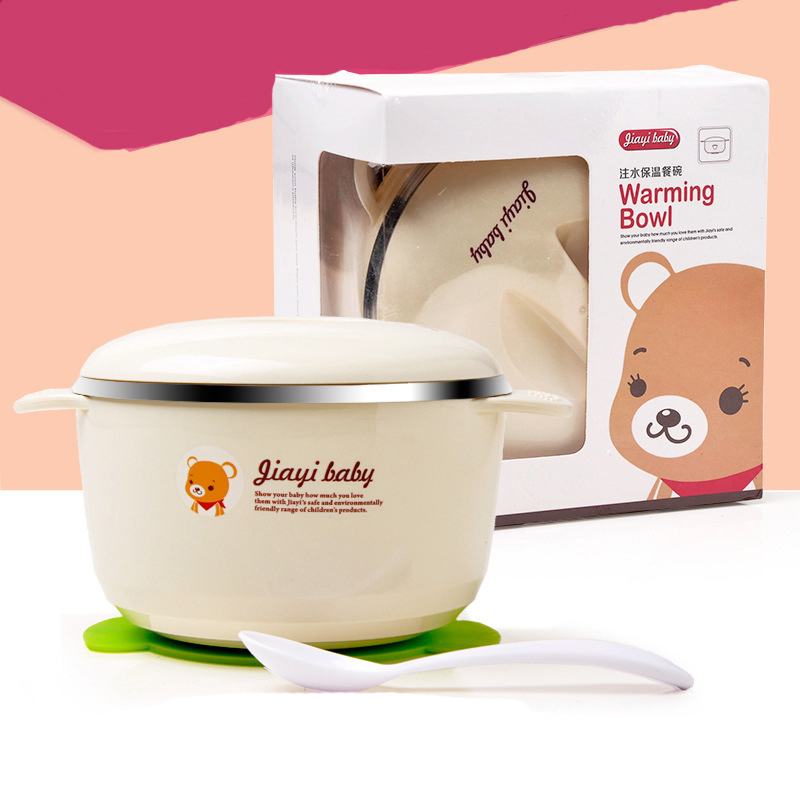 Baby Dinner Set Bowl Spoon Suction Cup Lid Cartoon Animals Bear Feeding