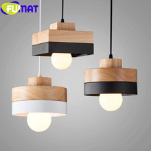 FUMAT Dinning Room Pendant Lamp Nordic Modern Simple Single Head Corridor Aisle Light Fixture Cafe Bar Iron Wood Pendant Lights black iron wood cage pendant light cord fixture nordic modern vintage hanging lamp lustre avize design foyer dinning table room