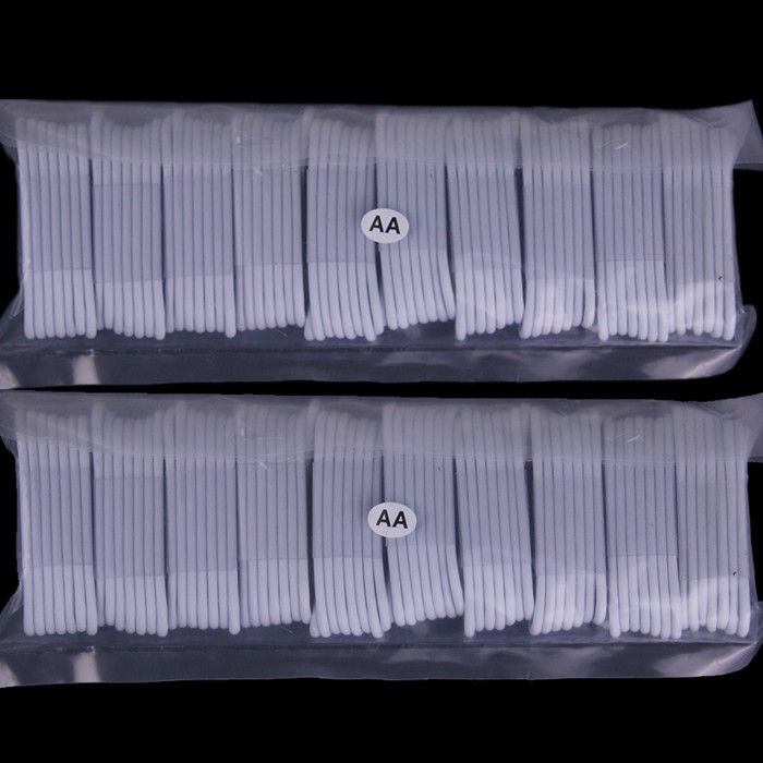 imágenes para Envío gratis 1 M LOS 3FT 200 unids/lote Blanco 8 pin usb Cable de la Cuerda paquetes de accesorios para teléfono móvil 5 5S 6 6 s 7 más laptop