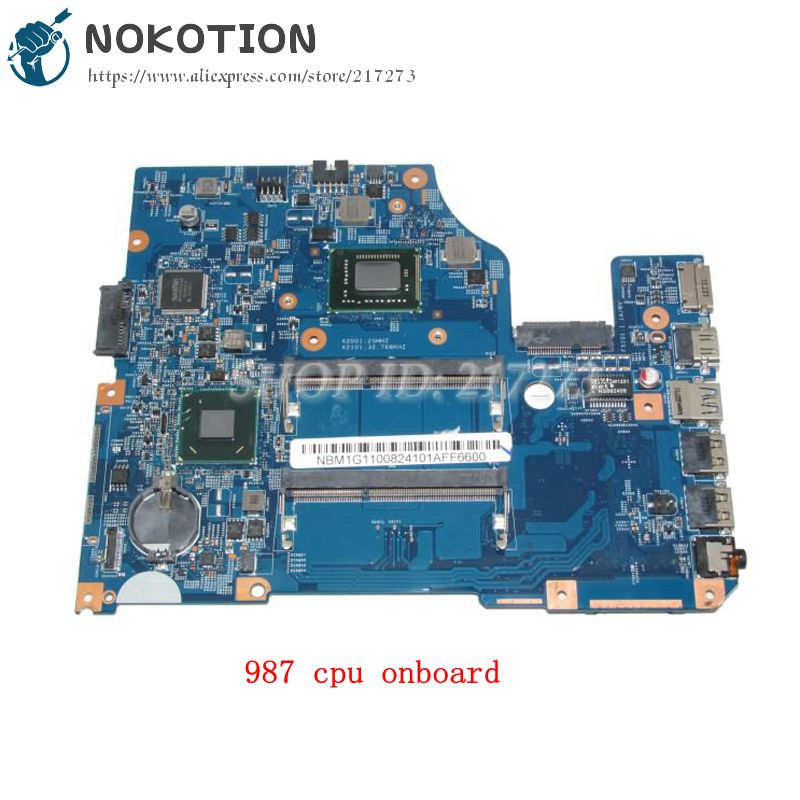 NOKOTION NBM1G11008 48.4VM02.011 PC Motherboard For Acer V5-531 MAIN BOARD UMA MB Pentium 987 CPU onboard DDR3 nokotion sps v000198120 for toshiba satellite a500 a505 motherboard intel gm45 ddr2 6050a2323101 mb a01