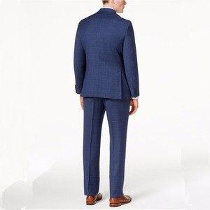 Image 5 - Costume Glen Check pour homme bleu marine, costume deux pièces à carreaux, sur mesure, avec fenêtre