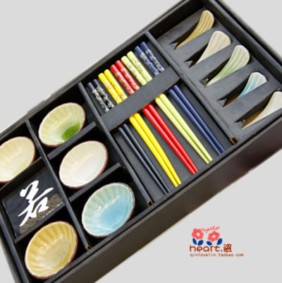 2015 Time-limited Bento Box Cutlery Talheres free Shipping for Calvings Glaze Tableware Crack Sushi Plate 15 Piece Set Wedding