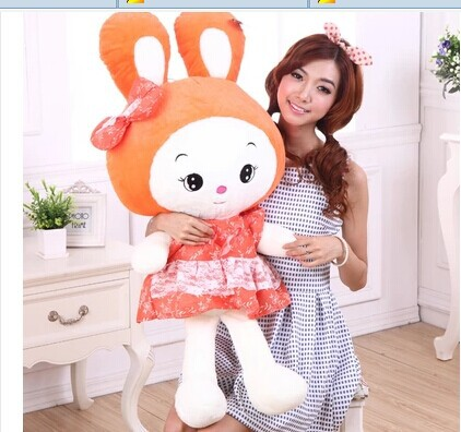 Stuffed animal 75 cm lovely beautiful skirt rabbit plush toy pink or orange throw pillow doll gift w3821 stuffed animal 44 cm plush standing cow toy simulation dairy cattle doll great gift w501