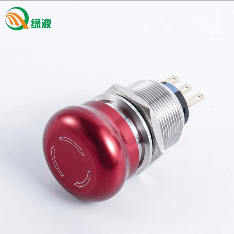 LVBO 19mm 22mm Waterproof Stainless Steel Metal Latching Emergency STOP Push Button Switch Stop Button Switch Red