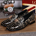 Genuine Leather Men Rivets Studded Moccasins Casual Flat Shoes Mens Loafers Spiked Flats Pointed Toe Party Prom Boat Shoe