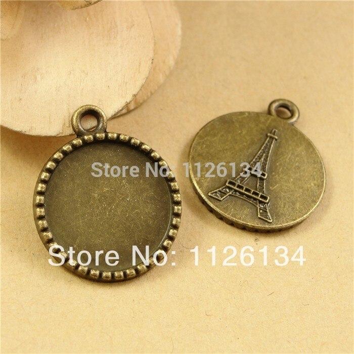 6 Brisuren dans Antique Bronze pour cabochon 14 mm