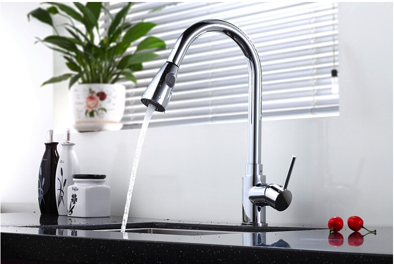 Fashion Pull out Spray Kitchen Faucet Mixer Tap Brass kitchen Faucet high quality chrome Brass Material Mixers hpb pull out spray kitchen chrome brass