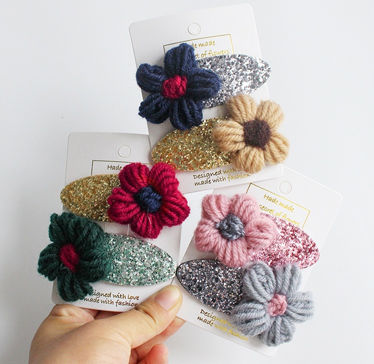 Boutique ins 12Sets Fashion Cute Floral Hairpins Solid Flower Glitter Barrettes Snap Clips Princess Headwear Hair
