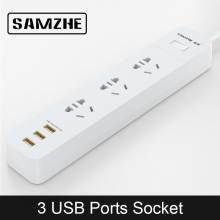 SAMZHE Power Strip Socket Portable Strip Plug Adapter with 3 USB Port Multifunctional Smart Home Electronics