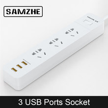 SAMZHE Power Strip Socket Portable Strip Plug Adapter with 3 USB Port Multifunctional Smart Home Electronics(China)