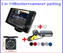 Auto Parking Camera Monitors System ,newest led &IR Night Vision Rear View Camera +3.5 LCD Car Mirror Monitor +4 sensor parking