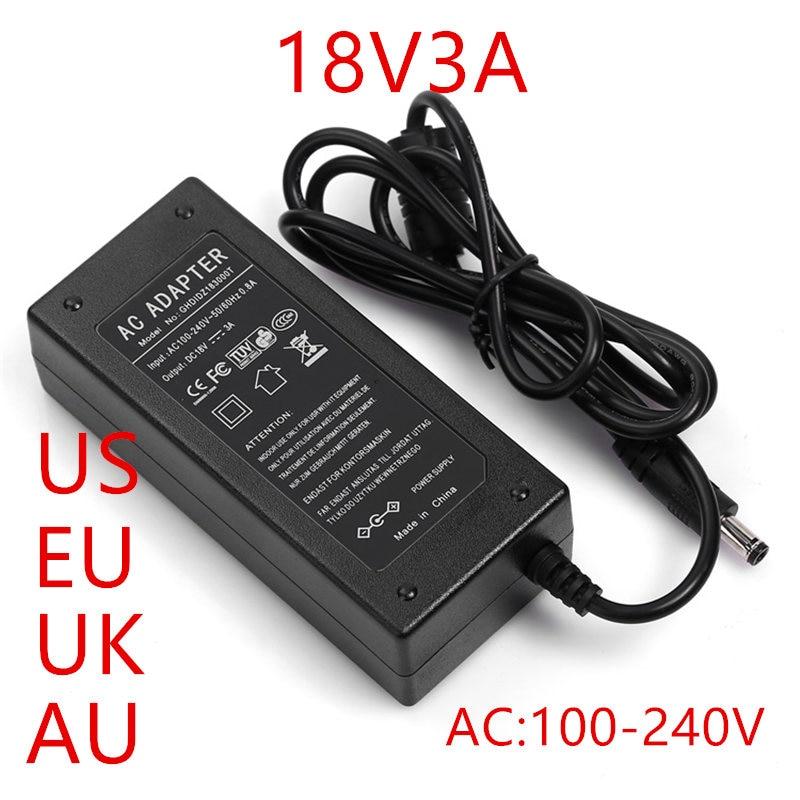 100PCS 18V 3A AC 100 240V Converter Adapter DC 18V 3A 3000mA Power Apadter 18V + AU US UK EU Plug