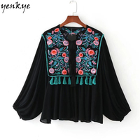 2017 Floral Sequin Embroidery Jacket Women Lantern Sleeve Lace Up O Neck Plus Size Tassel Cardigan