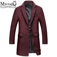 Mwxsd Brand Winter Casual Wool Coat For Men Middle Long Woolen Topcoat Jacket Male Warm Overcoat