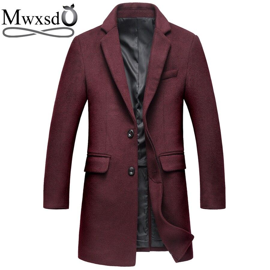 Mwxsd brand winter casual Wool coat for men Middle long woolen topcoat jacket male warm Overcoat Single Breasted wram outwear