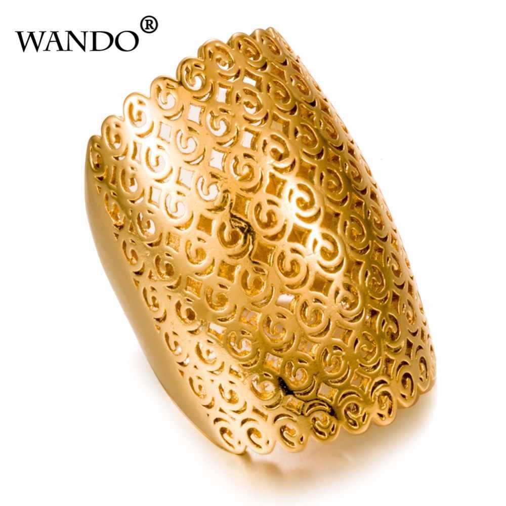 aae29b506c4d WANDO Dubai Etiopía boda anillos de oro 24 K oro anillo de Color para  mujeres joyería