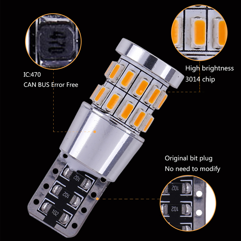 Image 5 - 1pcs T10 W5W LED Bulb 194 168 Canbus No error White Light 3014 30 SMD For Car Interior Dome License Plate Light Lamp 12V-in Signal Lamp from Automobiles & Motorcycles