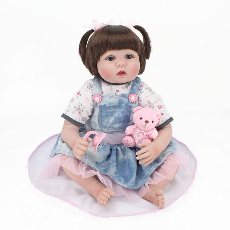 55cm Real Looking Dolls Reborn Handmade Rooted Hair Blue Eyes Girl Doll Silicone Vinyl Dolls Kids Playmate Toys Birthday Gift new fashion design reborn toddler doll rooted hair soft silicone vinyl real gentle touch 28inches fashion gift for birthday