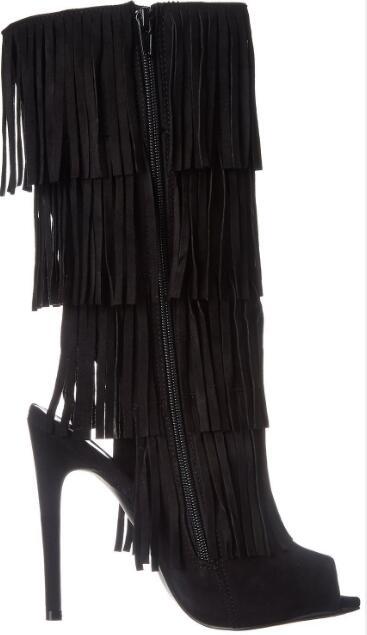 Hot selling! Woman suede black open toe fringe high heel half boots Fashion open heel peep toe super high thin heel boots стоимость