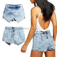 catonATOZ 1892 Women's Brand Fashion Stretchy Denim Skorts Shorts Skirts Acid Wash Jeans Denim Faded Hot Shorts(China)