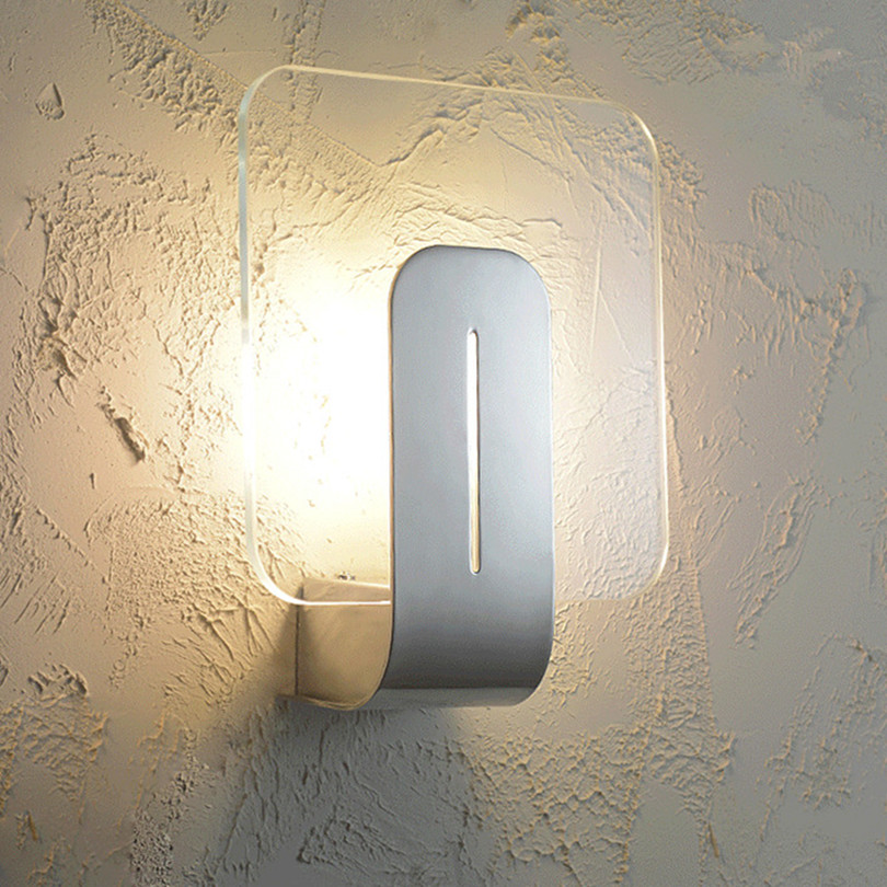 Modern Simple Chrome Metal Led Wall Lamp Lustre Acrylic Bedroom Led Wall Light Wall Lights Porch Corridor Wall Lighting Fixtures modern simple rectangle led wall lights lustre acrylic bathroom led wall lamp bedroom wall light mirror led lighting fixtures