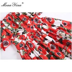 Image 5 - MoaaYina Fashion Designer Runway Cotton Dress Summer Women Spaghetti strap Ruffles Floral Print Vacation Mini Dress