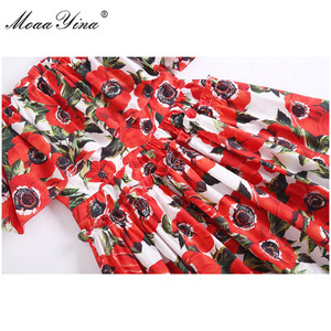 Image 5 - MoaaYina, moda de diseñador, vestido de algodón de pasarela, vestido de verano para mujer, tirantes finos, volantes, estampado Floral, vacaciones, Mini vestido