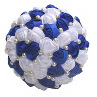 Handmade Rose Flowers Wedding Bouquets Good Quality Pearls Bridal Brooch Bouquet Bride Hand Flowers Bouquet De Mariage