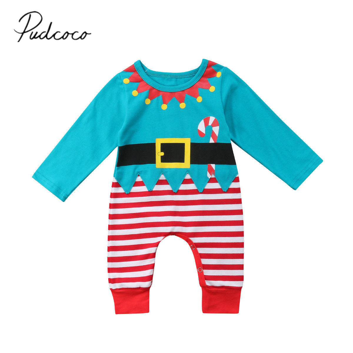 Pudcoco Baby Girl Newborn Baby Boy Christmas Costume One Piece   Romper   0-24M Fits Baby Clothes Long Sleeve Autumn Winter Outfits