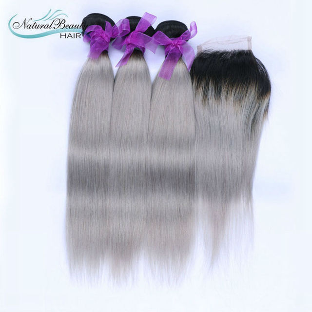 New Arrival Peruvian Straight Ombre Silver grey Hair Weaving 1b/gray Two Tone Peruvian Virgin Human Hair Extensions