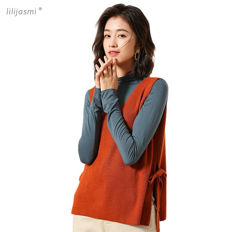 Spring Hot Women V neck Knit Vest Side Belt Fine Wool Fashion Waistcoat Female Sweater Women's Sleeveless Side Split 2019